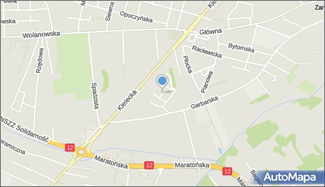 Radom, Pamięci Katynia, mapa Radomia