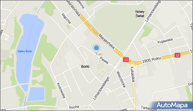Radom, Pawia, mapa Radomia