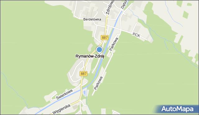 Rymanów-Zdrój, Park Obrońców Westerplatte, mapa Rymanów-Zdrój
