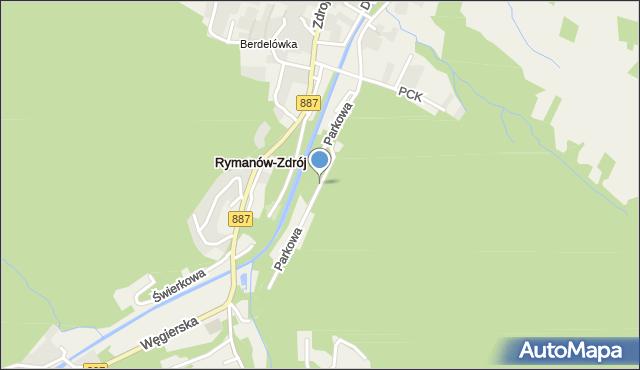 Rymanów-Zdrój, Parkowa, mapa Rymanów-Zdrój