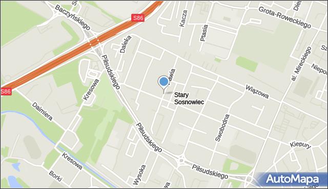 Sosnowiec, Pawia, mapa Sosnowca