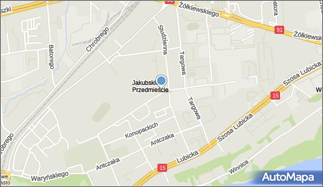 Toruń, Pająkowskiego Gerarda, mapa Torunia