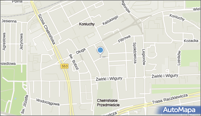 Toruń, Pałucka, mapa Torunia