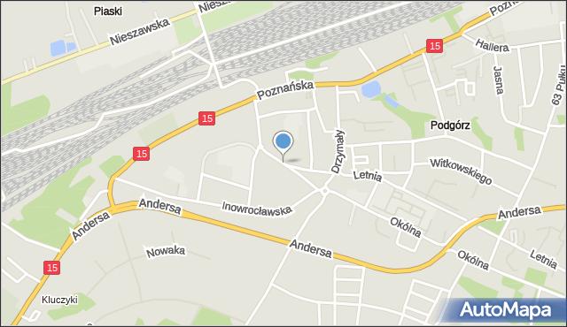 Toruń, Parkowa, mapa Torunia