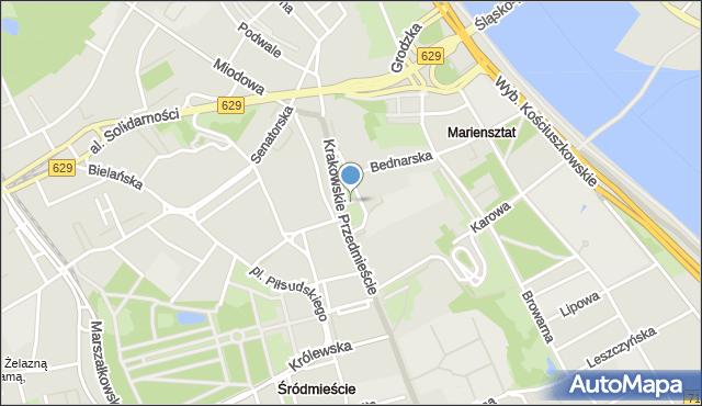 Warszawa, Pasaż Niezależnego Zrzeszenia Studentów, mapa Warszawy