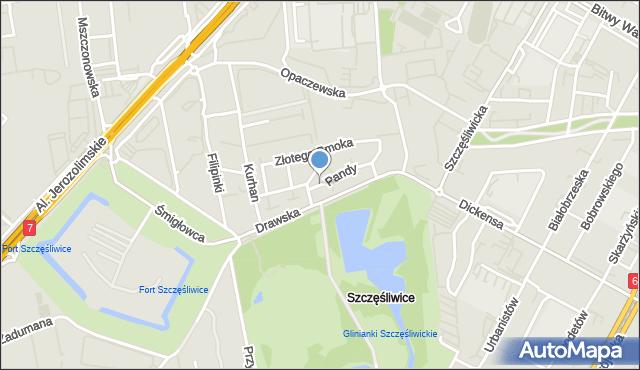 Warszawa, Pandy, mapa Warszawy