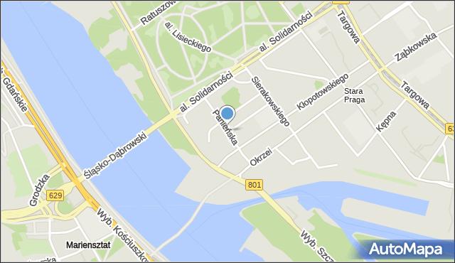 Warszawa, Panieńska, mapa Warszawy