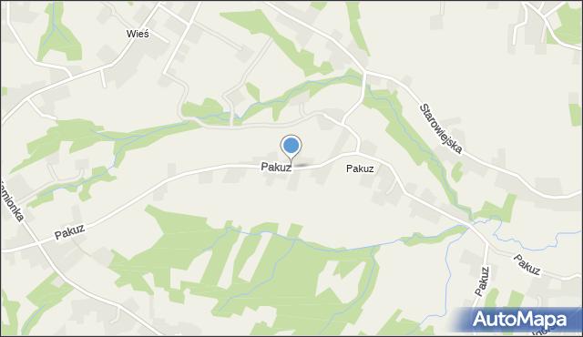 Zakliczyn gmina Siepraw, Pakuz, mapa Zakliczyn gmina Siepraw