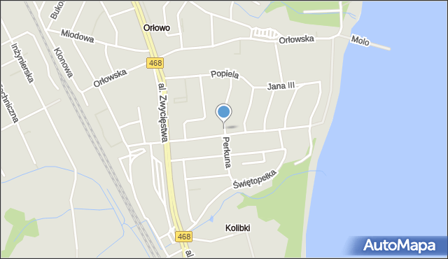 Gdynia, Perkuna, mapa Gdyni