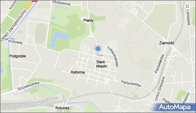 Zamość, Pereca, mapa Zamościa