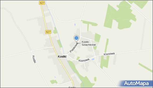 Kostki, Piaskowa, mapa Kostki