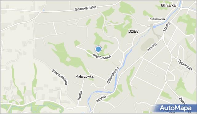 Limanowa, Piastowska, mapa Limanowa