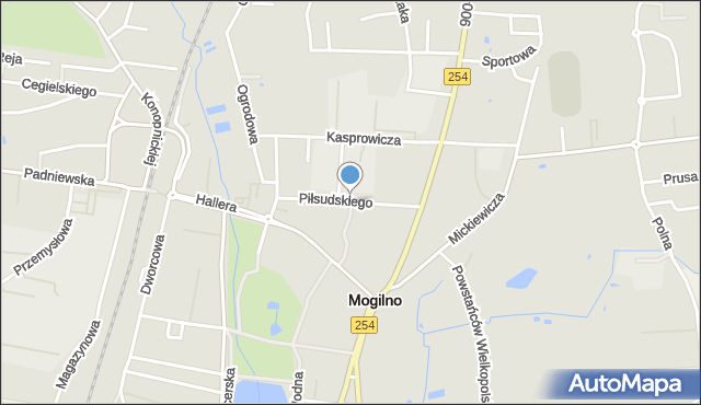 Mogilno, Piłsudskiego Józefa, marsz., mapa Mogilno