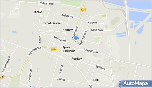 Opole Lubelskie, Piłsudskiego Józefa, marsz., mapa Opole Lubelskie