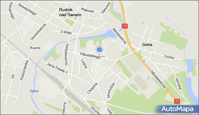 Rudnik nad Sanem, Piłsudskiego Józefa, marsz., mapa Rudnik nad Sanem