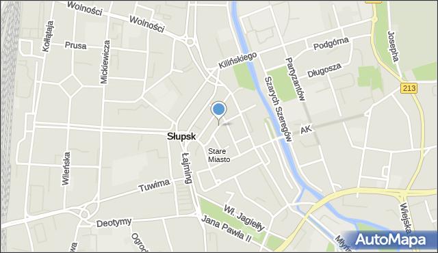 Słupsk, Piekiełko, mapa Słupska