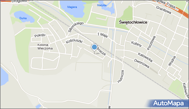 Świętochłowice, Piechaczka Teodora, mapa Świętochłowice