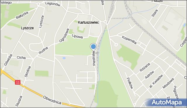 Tarnowskie Góry, Piestraka Feliksa, mapa Tarnowskie Góry
