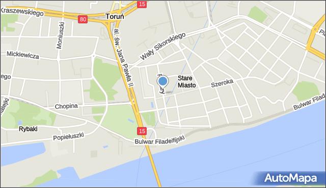 Toruń, Piekary, mapa Torunia