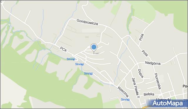 Ustrzyki Dolne, Piastowska, mapa Ustrzyki Dolne