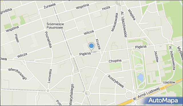 Warszawa, Piękna, mapa Warszawy