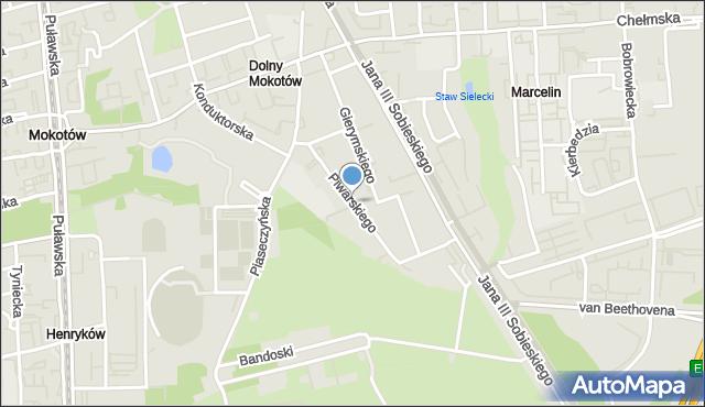 Warszawa, Piwarskiego Jana Feliksa, mapa Warszawy
