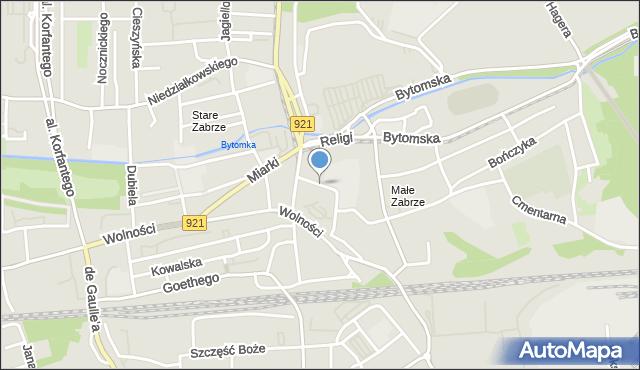Zabrze, Piastowska, mapa Zabrza
