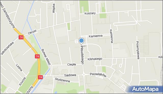 Zamość, Piłsudskiego Józefa, marsz., mapa Zamościa
