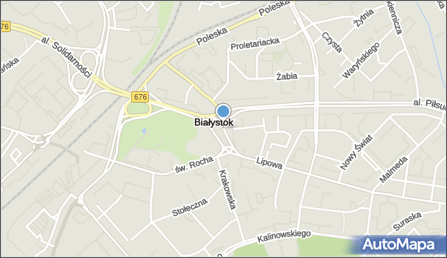 Białystok, Plac Niepodległości im. Romana Dmowskiego, mapa Białegostoku