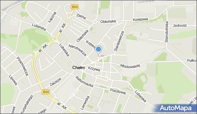 Chełm, Plac Kościuszki Tadeusza, gen., mapa Chełma