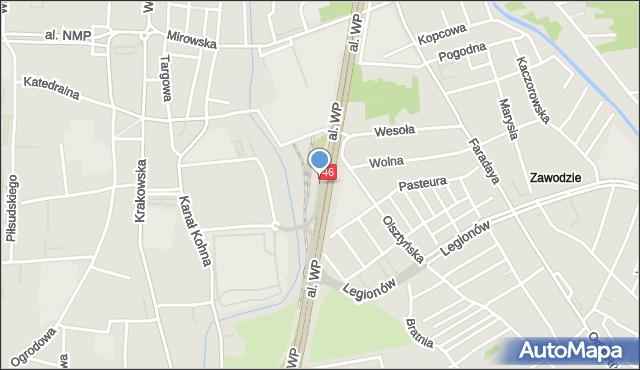 Częstochowa, Plac Katyński, mapa Częstochowy