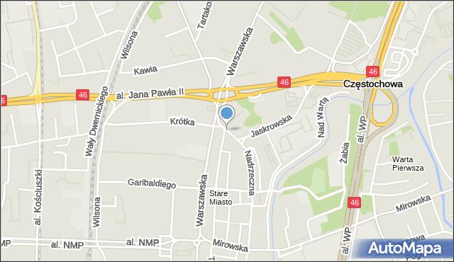 Częstochowa, Plac Bohaterów Getta, mapa Częstochowy