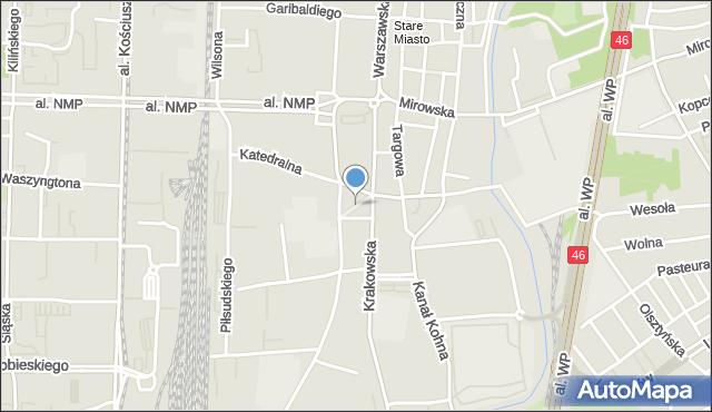 Częstochowa, Plac Papieża Jana Pawła II, mapa Częstochowy