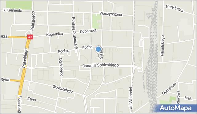 Częstochowa, Plac Pamięci Narodowej, mapa Częstochowy