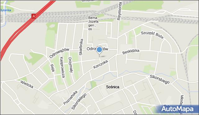 Gliwice, Plac Mariacki, mapa Gliwic