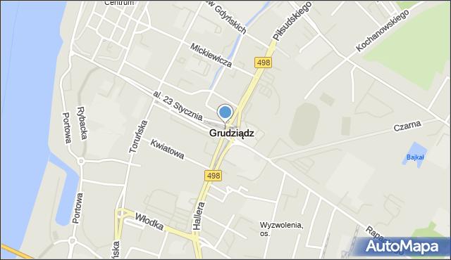 Grudziądz, Plac Piłsudskiego Józefa, marsz., mapa Grudziądza