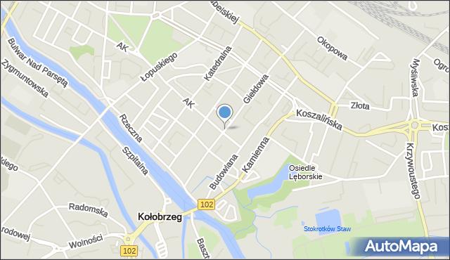 Kołobrzeg, Plac Ratuszowy, mapa Kołobrzegu