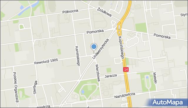 Łódź, Plac Pokoju, mapa Łodzi