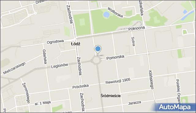 Łódź, Plac Wolności, mapa Łodzi