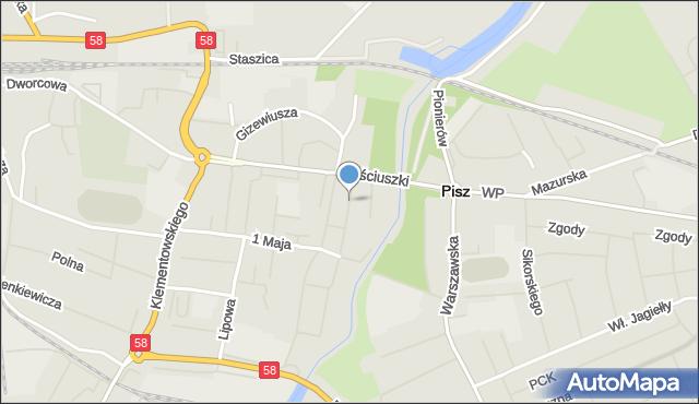 Pisz, Plac Daszyńskiego Ignacego, mapa Pisz