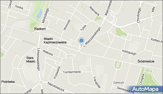 Radom, Plac Kazimierza Wielkiego, mapa Radomia