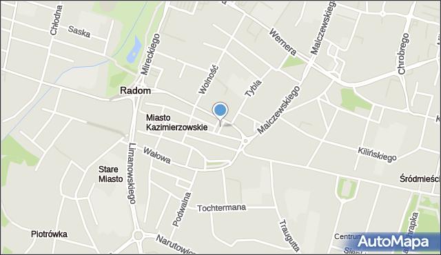 Radom, Plac Reformacji, mapa Radomia