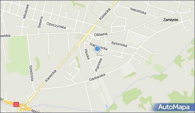 Radom, Planowa, mapa Radomia
