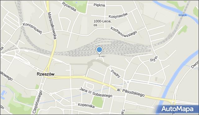 Rzeszów, Plac Dworcowy, mapa Rzeszów
