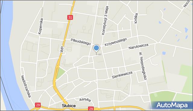 Słubice, Plac Bohaterów, mapa Słubice