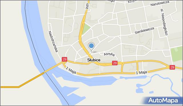 Słubice, Plac Sybiraków, mapa Słubice