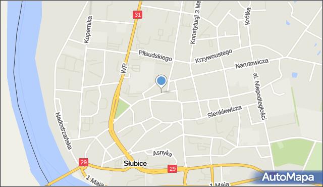 Słubice, Plac Wolności, mapa Słubice