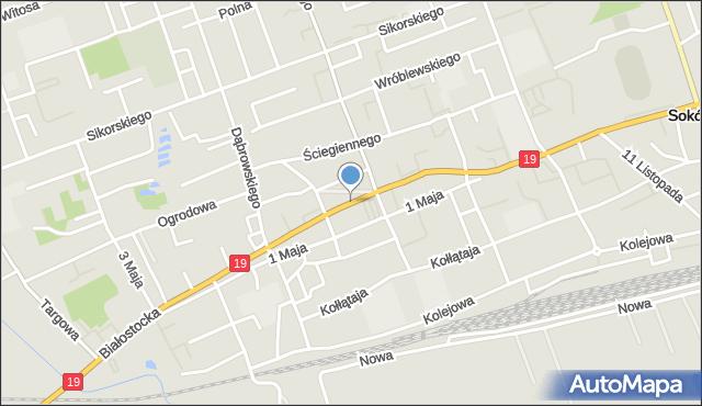 Sokółka, Plac Kościuszki Tadeusza, gen., mapa Sokółka