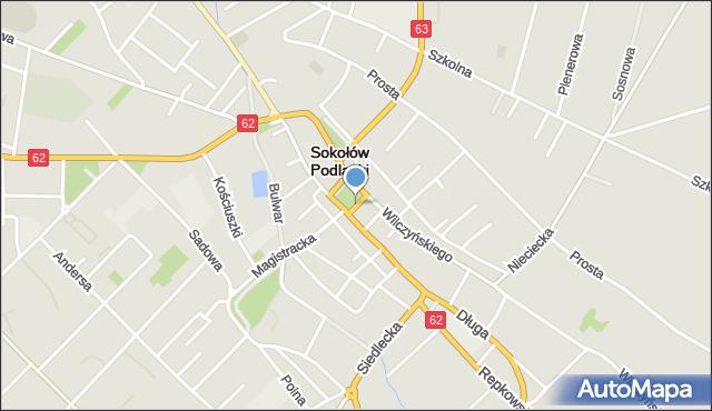 Sokołów Podlaski, Plac Brzóski Stanisława, ks., mapa Sokołów Podlaski
