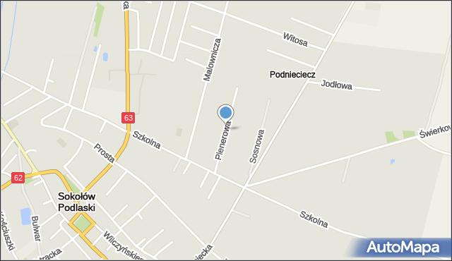 Sokołów Podlaski, Plenerowa, mapa Sokołów Podlaski